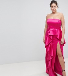 TTYA BLACK Plus Bandeau Maxi Dress With Ruffle Detail - Pink