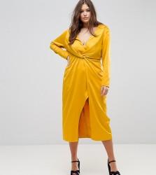 TTYA BLACK Plus Midi Wrap Dress With Knot Front - Yellow