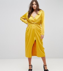 TTYA BLACK Plus Midi Wrap Dress With Knot Front - Yellow