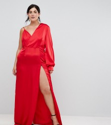 TTYA BLACK Plus One Shoulder Maxi Dress With High Thigh Split - Red