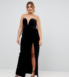 TTYA BLACK Plus Structured Bandeau Maxi Dress With High Thigh Split - Black