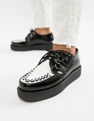 T.U.K creepers in black leather with white vamp - Black