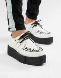 T.U.K platform creepers in white leather - White