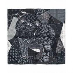 Turnbull & Asser Bulldog Pocket Square Black