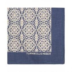 Turnbull & Asser Linen Medallion Pocket Square Navy