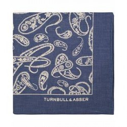 Turnbull & Asser Linen Paisley Rope Pocket Square Navy