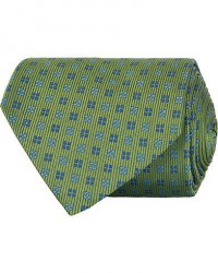 Turnbull & Asser Mini Square Spot Silk 9,5cm Tie Green/Blue