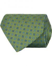 Turnbull & Asser Mini Square Spot Silk 9,5cm Tie Green/Blue men One size Grøn
