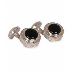 Turnbull & Asser Mother of Pearl Reversible Ring Cufflinks Black/White