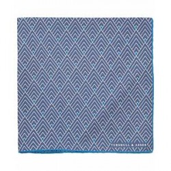Turnbull & Asser Multi Diamond Silk Pocket Square Blue