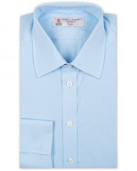 Turnbull & Asser Regular Fit Double Cuff Poplin Shirt Light Blue