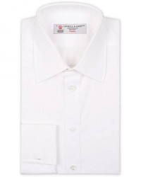 Turnbull & Asser Regular Fit Double Cuff Poplin Shirt White