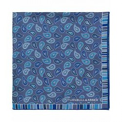 Turnbull & Asser Silk Classic Paisley Pocket Square Blue