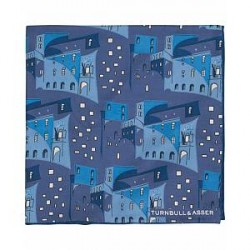 Turnbull & Asser Silk Cuban Houses Pocket Square Blue