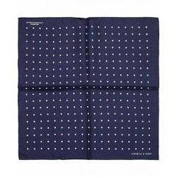 Turnbull & Asser Silk Dot Handkerchief Navy