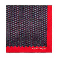 Turnbull & Asser Silk Flower Pocket Square Red