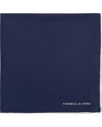 Turnbull & Asser Silk Handkerchief Navy men One size Blå