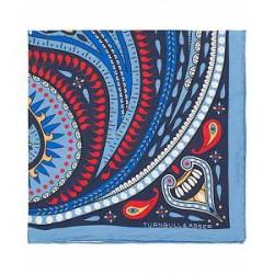 Turnbull & Asser Silk Jin & Jang Paisley Pocket Square Blue