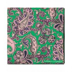 Turnbull & Asser Silk Pasiley Flower Pocket Square Green