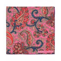 Turnbull & Asser Silk Pasiley Flower Pocket Square Pink