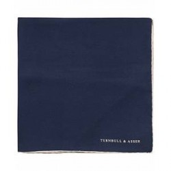 Turnbull & Asser Silk Pocket Square Navy