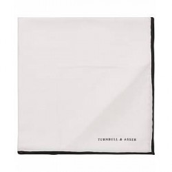 Turnbull & Asser Silk Pocket Square White