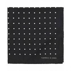 Turnbull & Asser Silk Spot Pocket Square Black