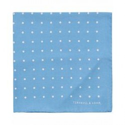 Turnbull & Asser Silk Spot Pocket Square Blue