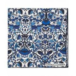 Turnbull & Asser Silk Tropical Flower Pocket Square White/Blue