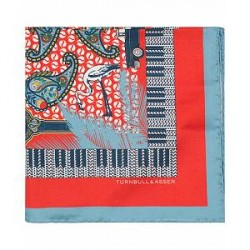 Turnbull & Asser Silk Viva Cuba Pocket Square Red