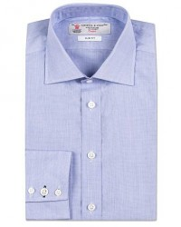 Turnbull & Asser Slim Fit Poplin End on End Shirt Blue