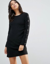 Twiin Apart Snap Button Dress - Black