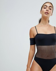 Twiin Black Mesh Cut Out Swimsuit - Black