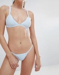 Twiin Charli Ribbed Micro Bikini Bottom - Blue