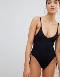 Twiin Mackenzie Rib Lace Up Swimsuit - Black