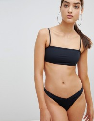 Twiin Paige Ribbed Brazilian Bikini Bottom - Black