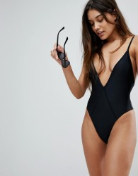 Twiin Plunge High Leg Swimsuit - Black