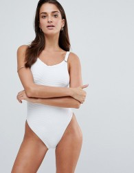 Twiin Plunge Ribbed Swimsuit - White