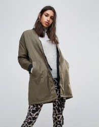 Twiin Revel Reversible Midi Bomber Jacket - Green