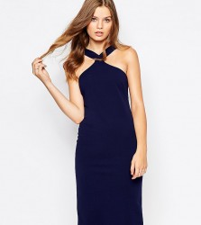Twin Sister Midi Pencil Dress with Square Neck - Navy