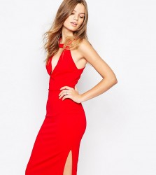 Twin Sister V neck Knee Length Pencil Dress - Red