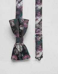 Twisted Tailor bow tie in pink floral jacquard - Black