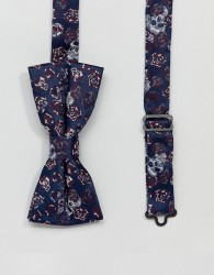 Twisted Tailor bow tie with skull jacquard - Navy