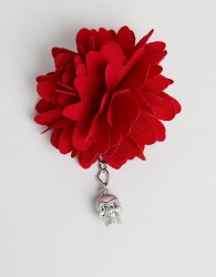 Twisted Tailor lapel pin in red with silver skull - Red
