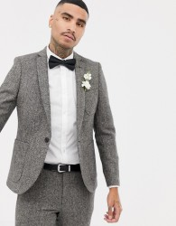Twisted Tailor super skinny suit jacket in grey herringbone - Grey