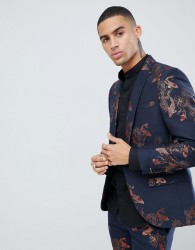 Twisted Tailor super skinny suit jacket with carp print - Navy