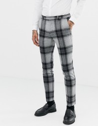 Twisted Tailor super skinny suit trouser with bold check in wool - Grey