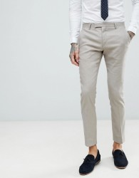 Twisted Tailor Super Skinny Suit Trousers In Stone Linen - Stone