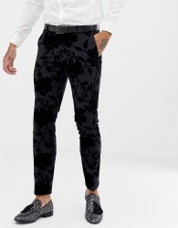 Twisted Tailor Super Skinny Suit Trousers With Flocking - Grey
