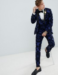 Twisted Tailor super skinny tuxedo suit trousers in flocking - Blue